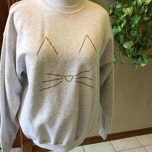 Gray Sweatshirt with Cat Design
